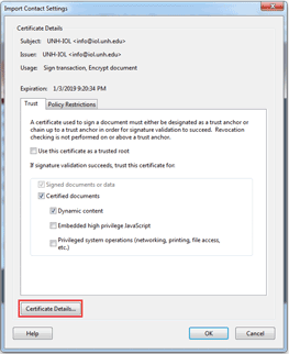 Adobe Reader Import Contact Settings Dialog