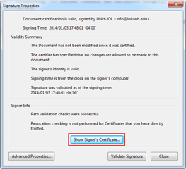 Adobe Reader Signature Properties dialog box