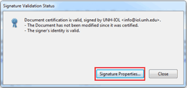 Adobe Reader Signature Validation Status