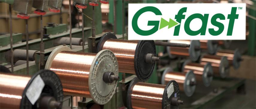 Gfast logo with spools of copper wire