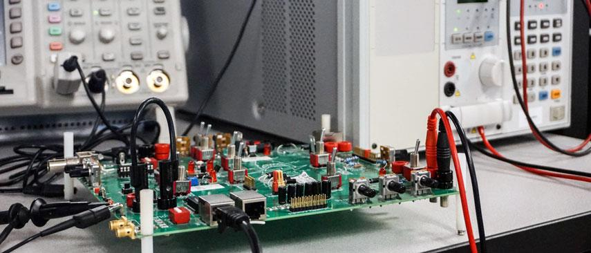 Circuit board with test equipment