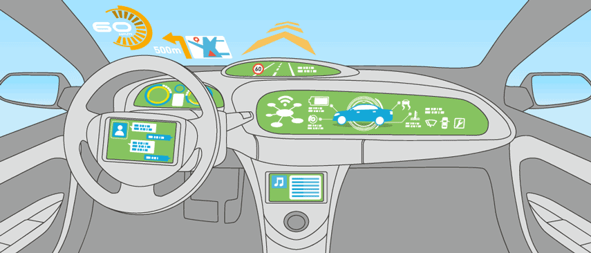 Illustration of a high-tech vehicle cockpit
