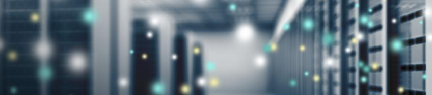 Blurred photo of racks in a data center