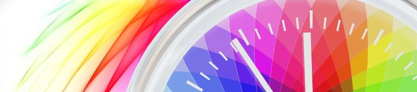 Clock illustration with a colorful background