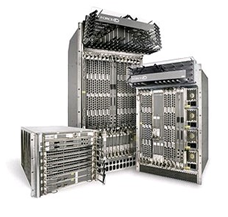 Black and white photo of racks with switches