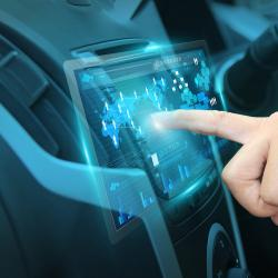 Pushing on car touch screen