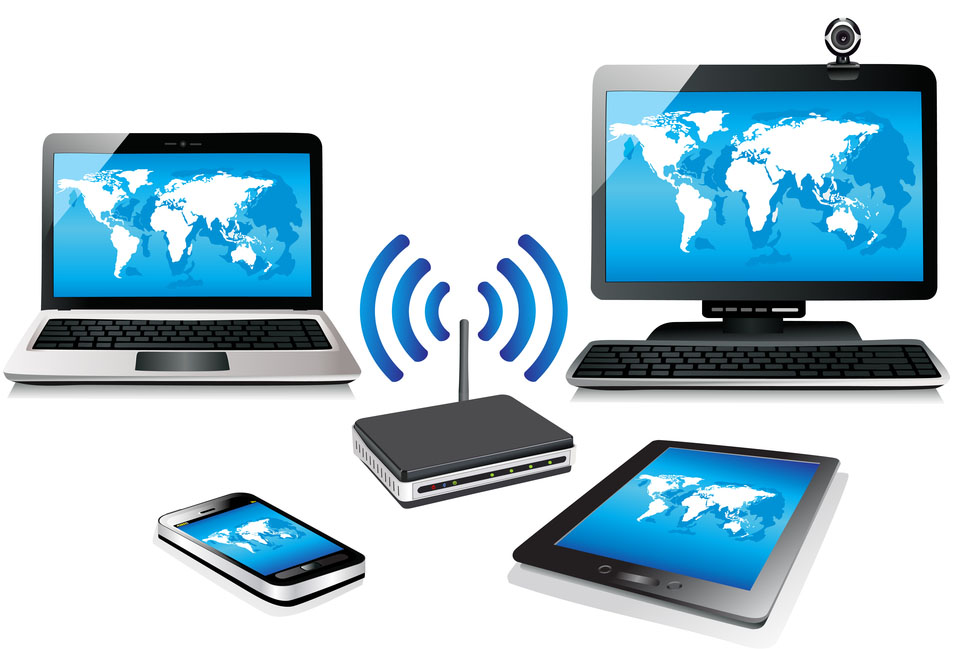Illustration of computers and tablets with a WiFi router in the middle